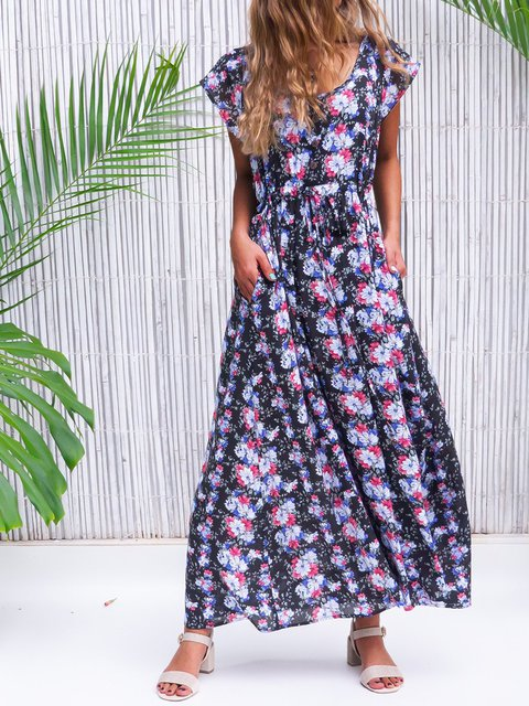 Floral Maxi Dress Summer Plus Size Pockets Short Sleeve Dresses