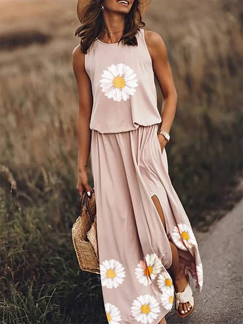 Pink Cotton Casual Dresses