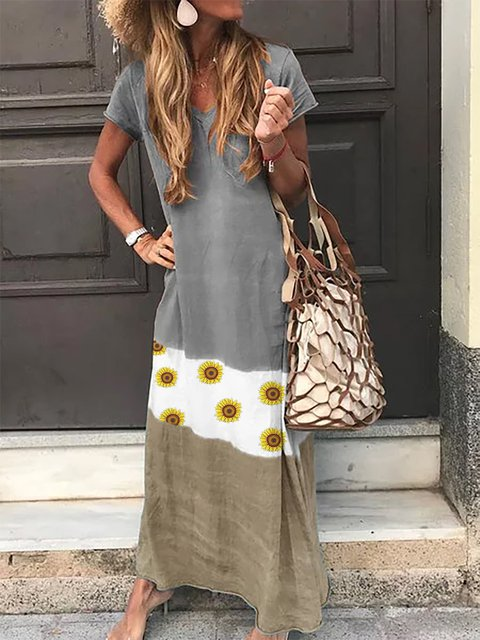 Gray V Neck Floral Printed Casual Dresses