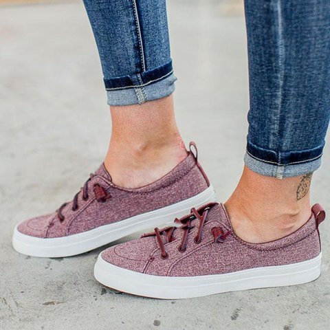 Flat Heel All Season Holiday Lace-Up Sneakers