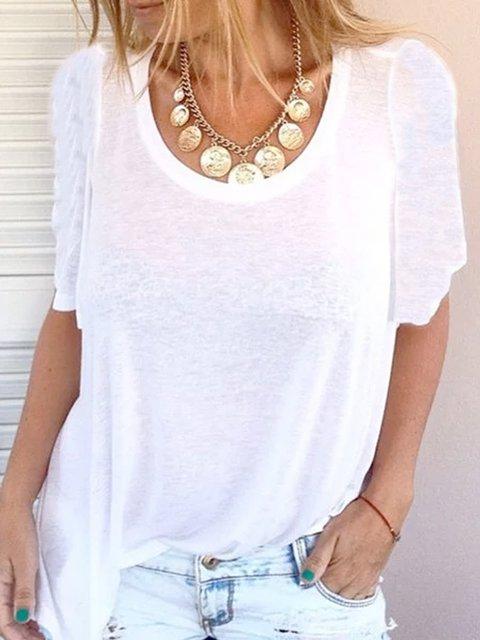 Casual simple loose short sleeve top