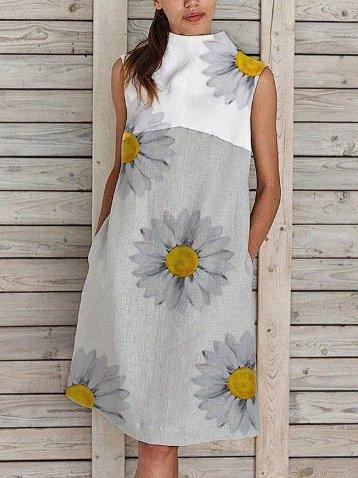 Sleeveless Cotton-Blend Printed Dresses