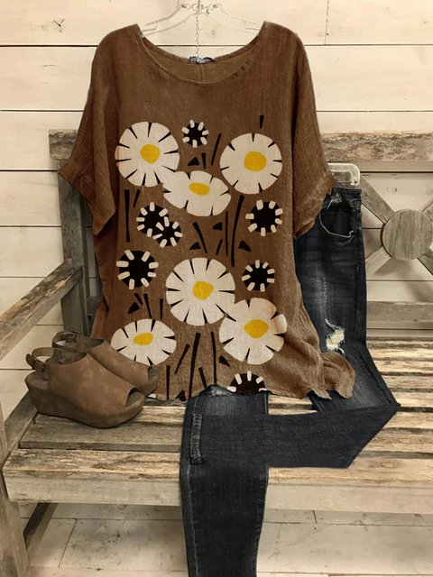 Coffee Casual Floral Shirts & Tops