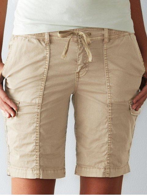 Apricot Cotton-Blend Plain Casual Pants