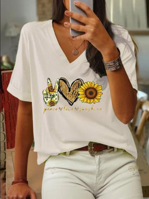 White V Neck Printed Short Sleeve Shirts & Tops