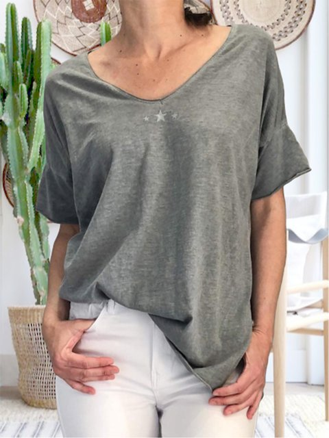 Casual v-neck short sleeve loose printed simple T-shirt