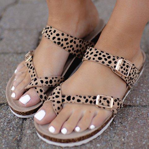 Leopard Summer Flat Heel Date Button Artificial Leather Slippers