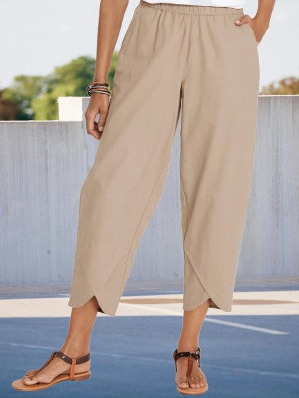 Casual Cotton-Blend Plain Shift Pants