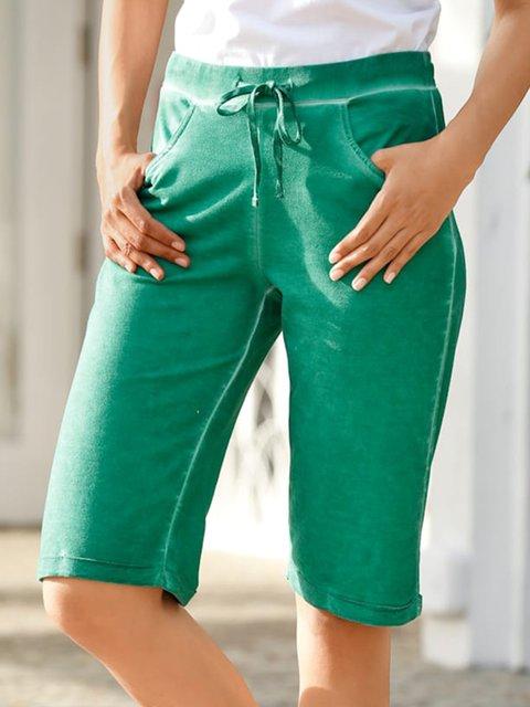 Women Pockets Drawstring Solid Casual Shorts