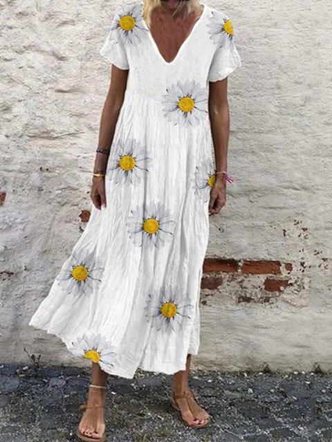 Floral Cotton-Blend V Neck Casual Dresses