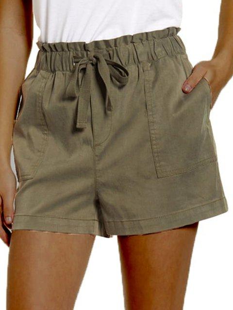 Army Green Plain Cotton-Blend Casual Shorts