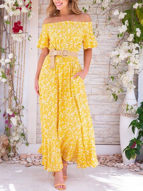Off Shoulder Maxi Dress Plus Size Summer Floral Printed Dresses