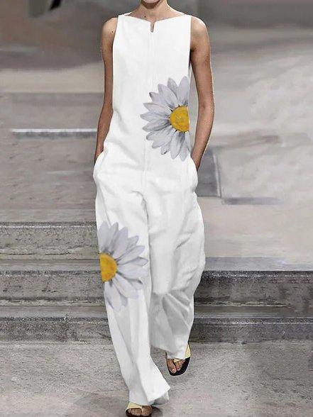 Casual Cotton-Blend Printed Floral Pants