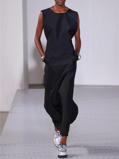 Casual Sleeveless Round Neck Plus Size Dress
