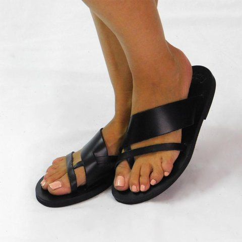 Black Casual Summer Flat Heel Leather Slippers
