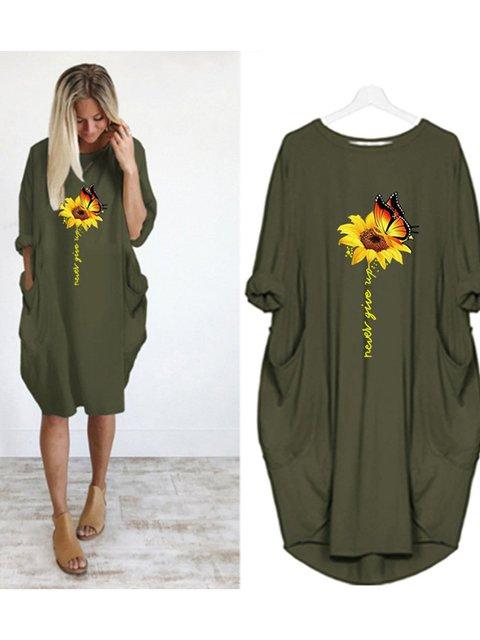 Casual Plus Size Round Neck 3/4 Sleeve Midi Dresses