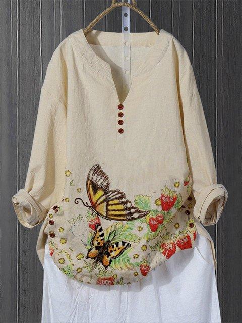 Khaki Floral Cotton-Blend Vintage Shirts & Tops