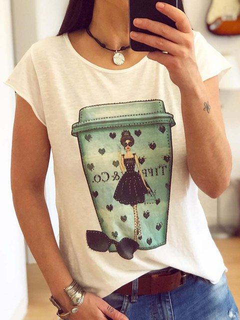 Women Abstract Print Summer Casual T-Shirts