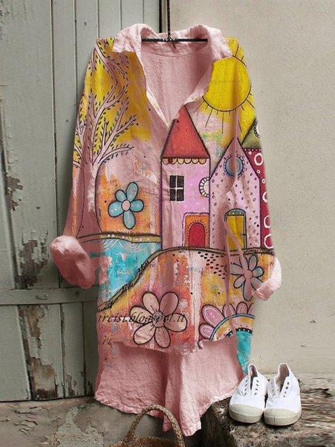 Pink Cotton-Blend Sweet Floral Shirts & Tops