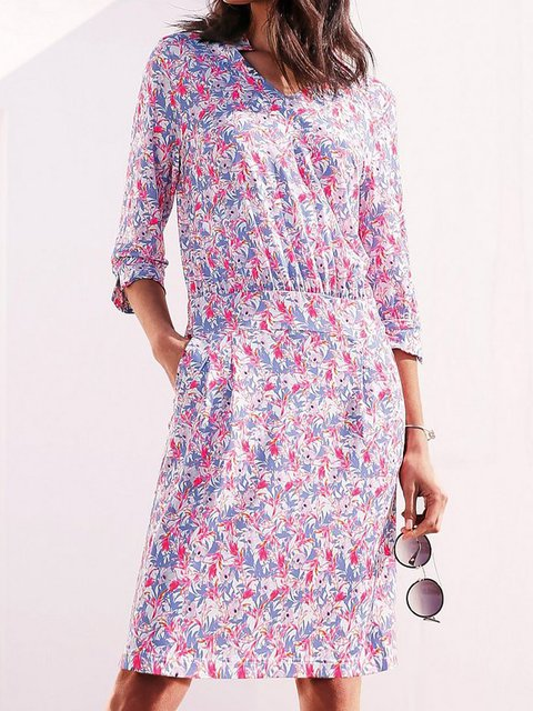 Multicolor V Neck Shift Casual Dresses