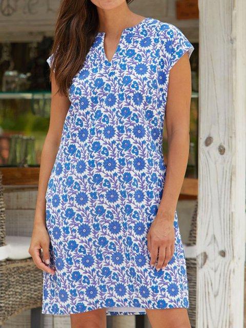 Blue Cotton-Blend Tribal Holiday V Neck Dresses