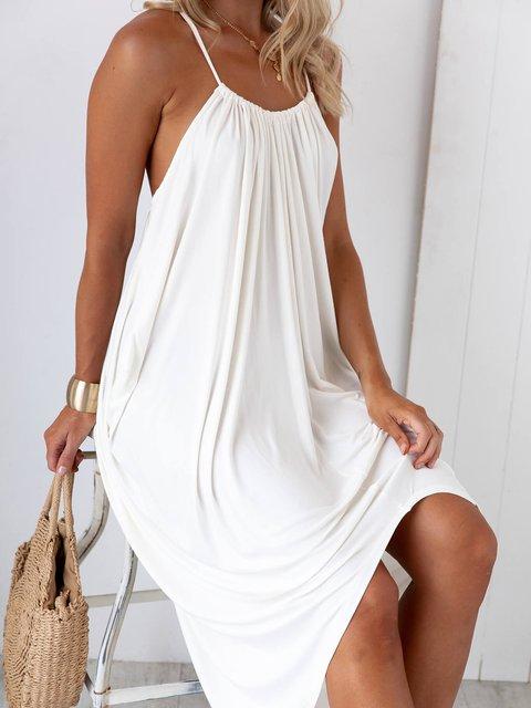 Solid Spaghetti Midi Dress Summer Plus Size Dresses