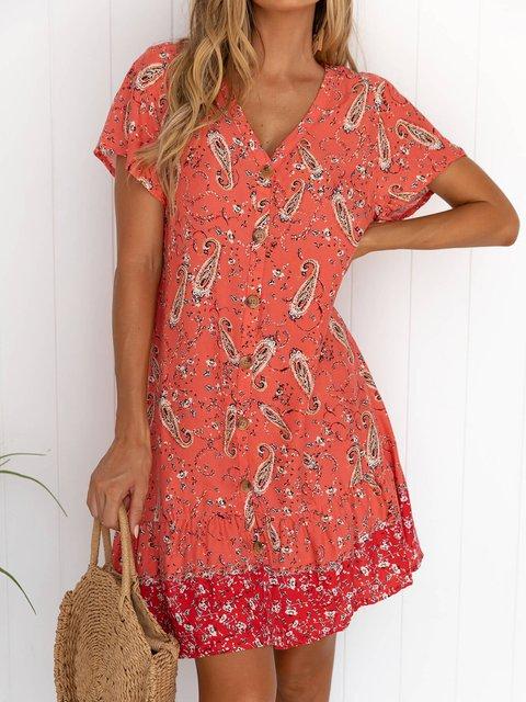 Floral Mini Dress Summer Plus Size V Neck Dresses