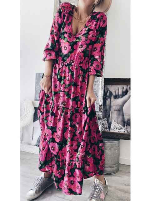 Floral Maxi Dress Plus Size Long Sleeve Dresses