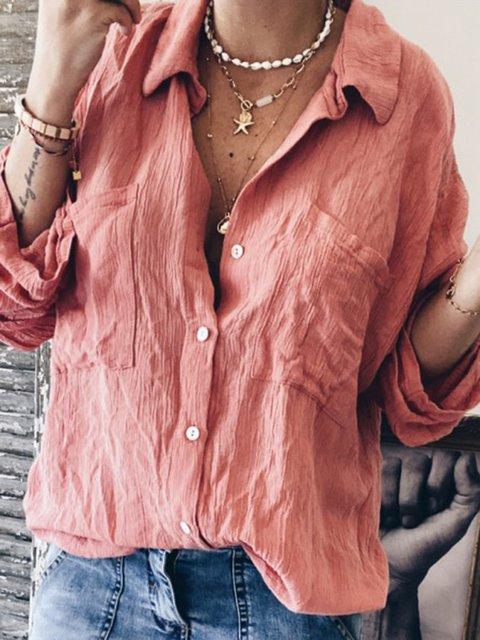 Pockets Plus Size Shirts Women Solid Long Sleeve Blouses
