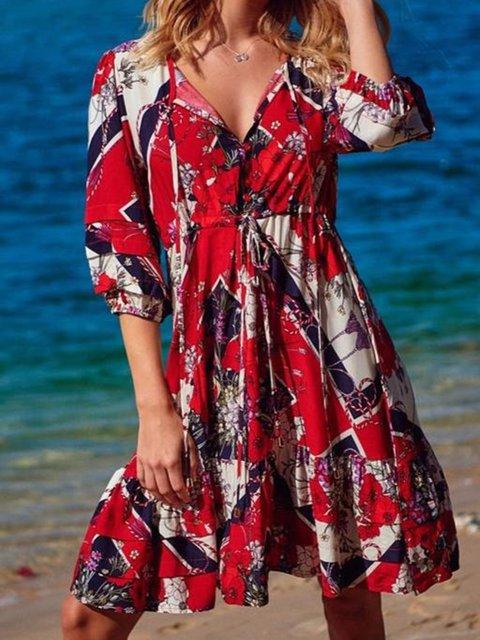 Floral Mini Dress Plus Size 3/4 Sleeve Dresses