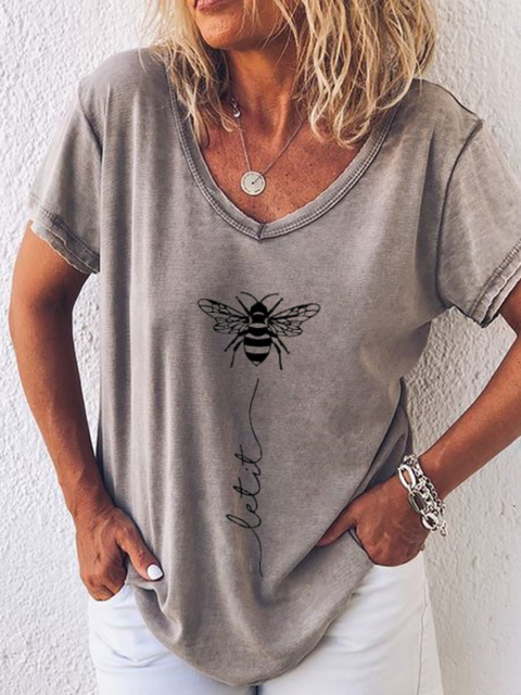 Plus size Casual V Neck Shirts & Tops