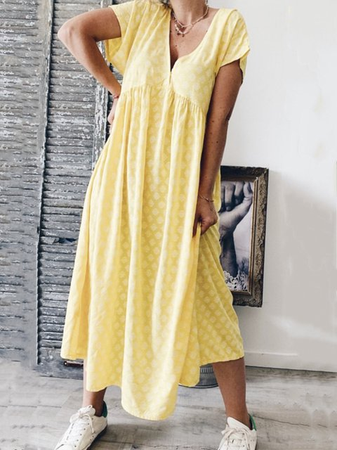 Floral Printed Casual Short Sleeve V-neck Maxi Dress
