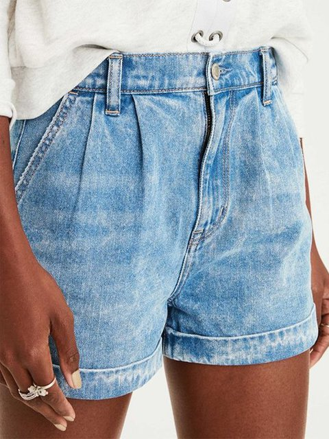 Casual simple loose denim shorts