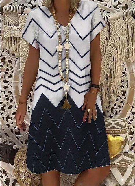 Navy Blue Geometric Casual V Neck Dresses