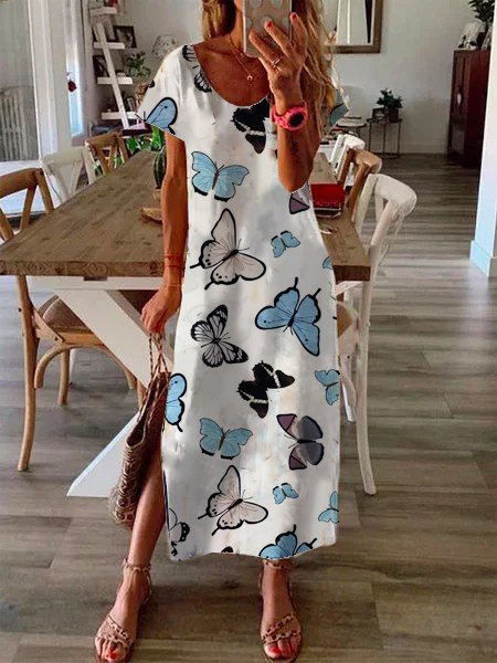 Butterfly print midi dress casual slit dress