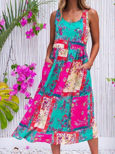 Floral Sleeveless Midi Dress Summer Pockets Plus Size Dresses