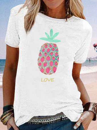 Pineapple printed oversized casual T-shirt