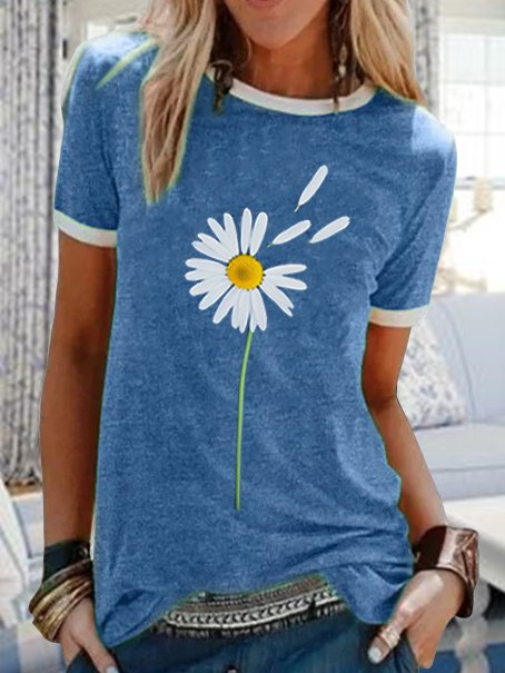 Round neck casual daisy printed short-sleeved T-shirt