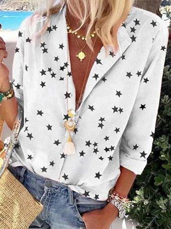 Half sleeve star print casual holiday shirt