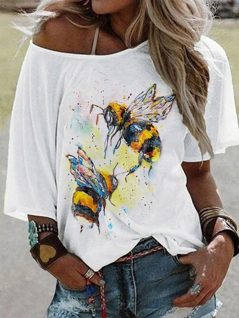 White Animal Casual Round Neck Shirts & Tops