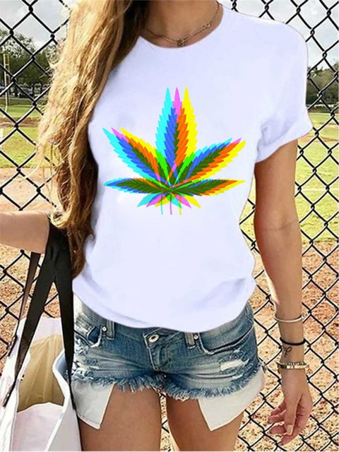 White Leaves Short Sleeve Shirts & Tops