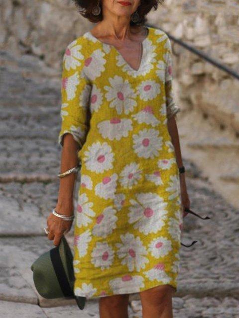 Vintage Daily Casual Floral Printed Half Sleeve V neck Shift Dresses