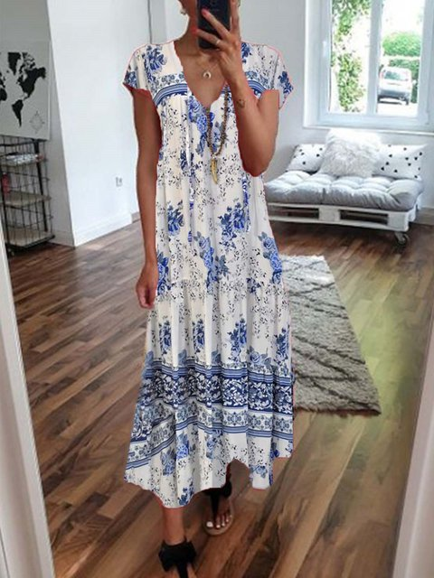 Floral Printed Casual Short Sleeve Maxi Dress