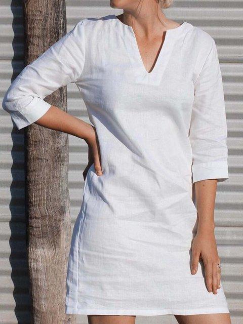 Women V-Neck 3/4 Sleeve Solid Shift Casual Dresses