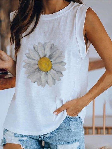 Sunflower Casual Cotton-Blend Vests Tank Tops