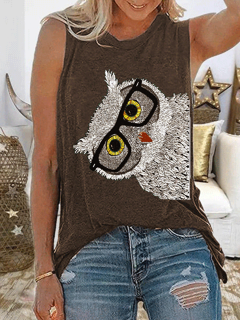 Vintage Casual Plus Size Printed Tank Tops