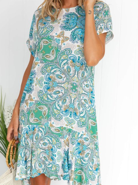 Summer Mini Dress Plus Size Short Sleeve Boho Dresses