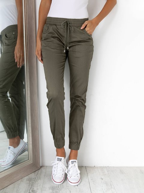 Women Solid Pants Plus Size Tapered Trousers
