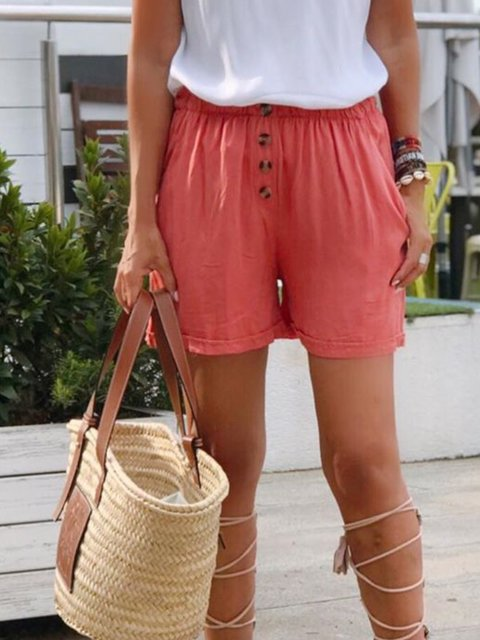 Watermelon Cotton-Blend Buttoned Simple Pants