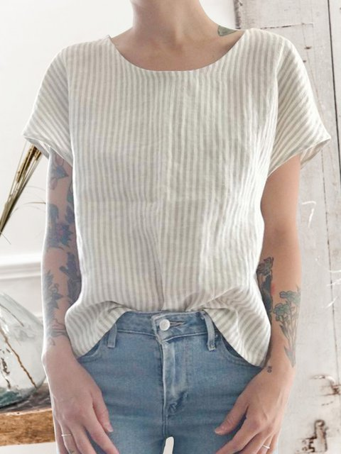 Women Striped Round Neck Summer Casual Tops